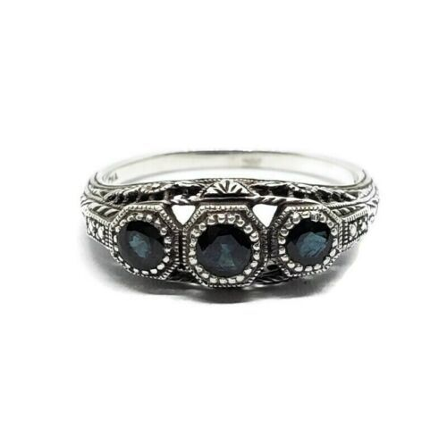 Primary image for Designer 925 Sterling Silver Estate Style Dark Blue Stone Ring Size 8.75