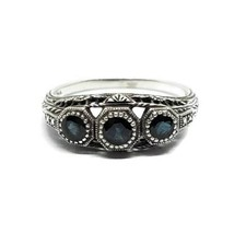 Designer 925 Sterling Silver Estate Style Dark Blue Stone Ring Size 8.75 - $29.69