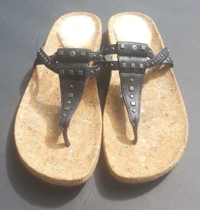 640f2c853 Ugg Thong Sandals Australia Deitra Black Leather Flip Flops Metal Studs 10