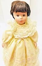 """Porcelain Doll 17"""" Brunette Hair Brown Eyes Girl Signed 4645/20000 Vintage  - $24.74"""