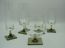 Linear Smoke Stemware by ROSENTHAL Wine Champagne Water Brandy Square Base  - $17.19+