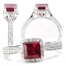 Solid 18k White Gold Antique Design Red White Diamond Womens Anniversary Ring  - $659.99