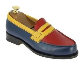 Handmade Men's Multi Color Leather Slip Ons Loafer Shoes image 3