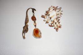 Mermaid Bookmark, Brown Agate Charm, Protection Stone, Agate Book Charm - $12.00