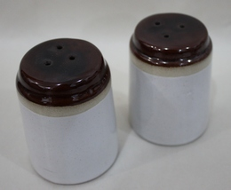 Brown topped Stoneware Salt and Pepper Shackers - $6.50