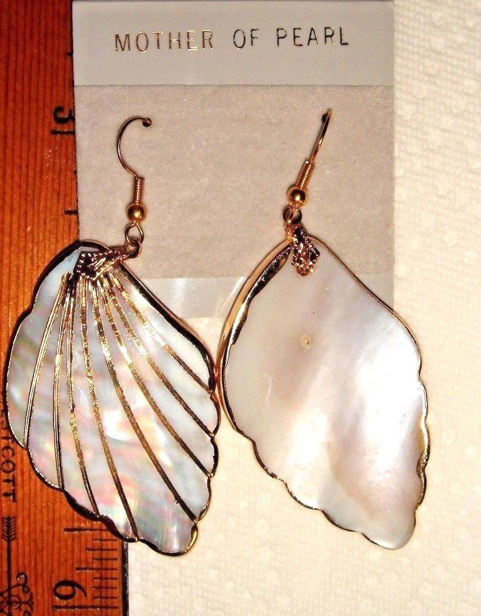 VTG RARE ART LINEN MOTHER OF PEARL HUGE PENDANT TOURSADE NECKLACE EARRING SET 2!