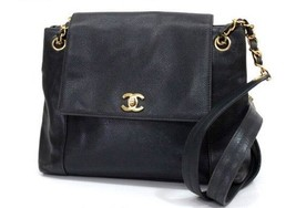 AUTHENTIC CHANEL Caviarskin Leather Chain Shoul... - $1,380.00