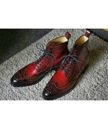 Handmade Wing Tip Burnished Brogues Toe Red Color Lace Up High Ankle Men... - $149.90+