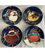 "Holiday Cypress Home 8"" Salad Dessert Plates Holiday Christmas Birds Whi... - $24.99"