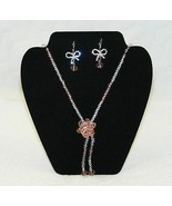 1980's PRISIM GLASS Cut Beaded Necklace Drop Earrings Rhinestone Bow Set  - $29.99