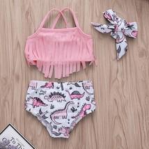 Toddler baby swimwear bikini Cartoon Print Tassel Summer Beach Swimsuit ... - $13.99