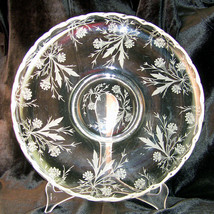 "Vintage Fostoria Etched Depression Glass HEATHER Floral 11.5"" Lily Dish ... - $30.95"