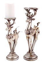 """Set of 2 Distressed Silver Deer Pillar Candle Holder Christmas Decorations 16"""" - $79.20"""