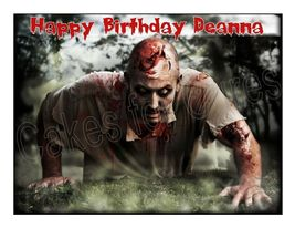 Zombies edible cake image party cake topper decoration cake frosting sheet - $8.98