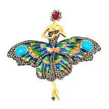 FAIRY Brooch Pendant 14 K Gold Turquoise Ruby Silver Diamond Pave Enamel... - $925.00