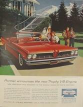 1961 Red Pontiac Bonneville Sports Coupe New Trophy v-8 Engine Print Ad - $9.99