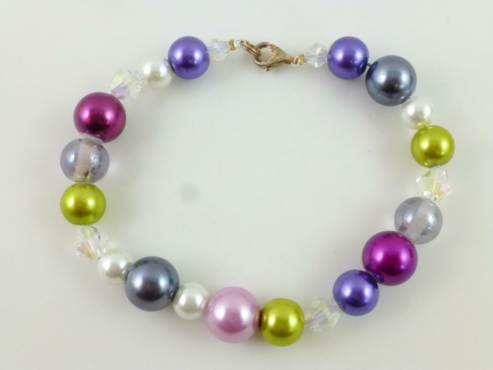Primary image for Confetti Rainbow Faux PEARL Faceted GLASS Beaded BRACELET IN STERLING SILVER-8""