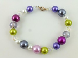 Confetti Rainbow Faux PEARL Faceted GLASS Beaded BRACELET IN STERLING SI... - $60.00