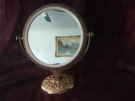 Vintage International Silver Company Gold Plated Vanity Mirror Round - $74.79