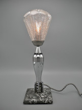 One of a kind chromed metal Trench Art/Art Deco lamp on heavy granite base. - $590.00
