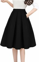 Tandisk Women's Vintage A-line Printed Pleated Flared Midi Skirt with Po... - $25.76+