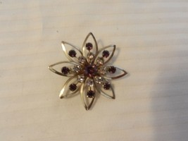 Vintage Silver Tone Flower Pin With Purple & Clear Rhinestones - $29.69