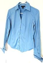 Ann Taylor Womens Career Shirt Button Down Ladies Top Cotton Spandex Pleats Blue - $13.97