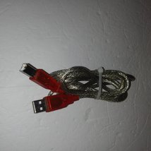 OEM Braided Weaved A/B USB Cable With Red PVC Connector Jacket, Silver, ... - $10.95
