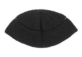 Frik Kippah Yarmulke Yamaka Black Crochet Knit Judaism Israel 21 cm Judaica
