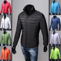 Men Casual Warm Jackets Solid Thin Breathable Winter Jacket Mens Outwear Lightwe - $42.84