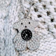 Silver Chic Teddy Bear Pendant Necklace Ladies Enamel Crystal Quartz Watch - $46.74