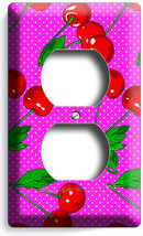 Red Hot Cherries Pink Polka Dots Outlet Light Switch Plate Dining Kitchen Decor - $8.99