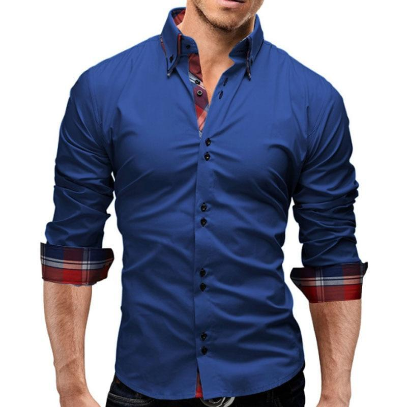 Primary image for Brand 2018 Fashion Male Shirt Long-Sleeves Tops Double collar business shirt Men