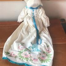 Handmade Cream Folk Art Doll with Re-Purposed Embroidered Blue Bird & Pi... - $13.99