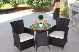 3pc Bistro Outdoor Wicker Dining Set Chairs And Table New - €217,91 EUR