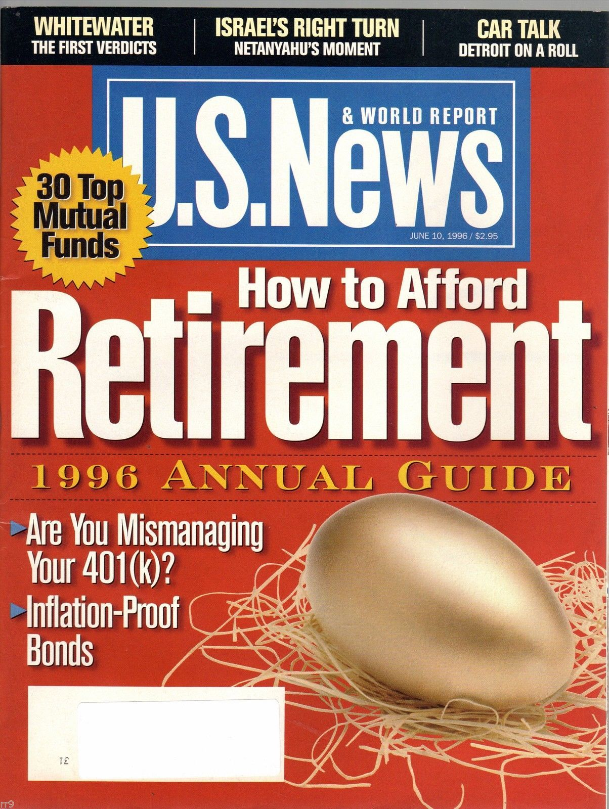 Primary image for U.S.News & World Report Magazine June 10, 1996 How to Afford Retirement