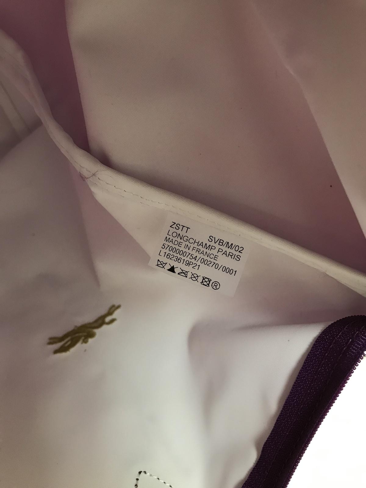 Longchamp Club Collection Horse Embroidery Short Handle Medium Handbag Violet