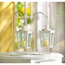 White Railroad Candle Lanterns Pair - $16.75