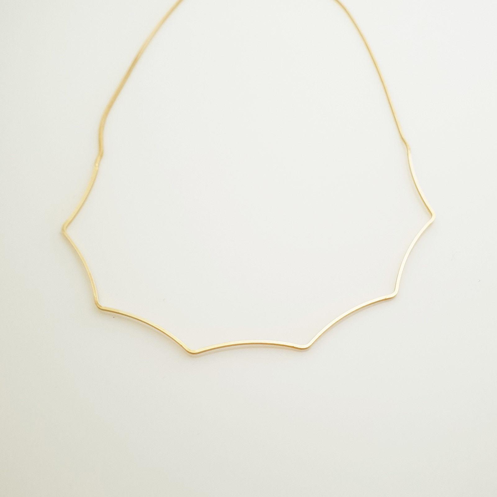Wave Bar Choker Necklace Brass Gold Tone Fashion Item N19