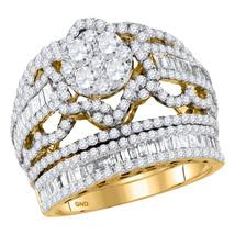 14kt Yellow Gold Round Diamond Bridal Wedding Engagement Ring Band Set 2-1/2 Ctw - $3,058.00