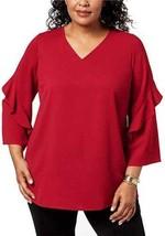 Alfani Plus Ruffled-Sleeve Zip-Back Top (Chinese Red, 3X) - $41.58