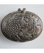 Vintage smelt clam shell locket mirror silver plate antique photo Art De... - $59.39