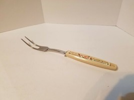 "Vintage EKCO Chromium Solid Meat Utility Fork Almond Handle Flowers 12"" - $9.72"
