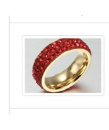 Size 7 Red Cz Gold Plated Ring  - $25.00