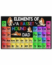 Elements Of A Basset Hound Dad Horizontal Poster - Birthday Gift For _a - $25.59+