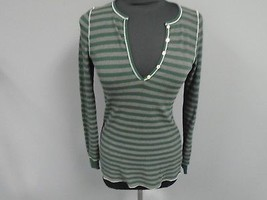 SPLENDID Green Gray Striped Polyester Blend Waffle Knit V Neck Top Size ... - $29.69