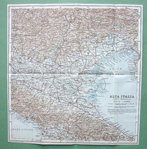 "1909 MAP ORIGINAL Baedeker - NORTHERN ITALY Alta Italia 10.5""x 11"" (27 x... - $5.07"