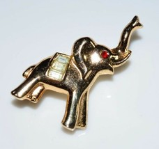 VTG CROWN TRIFARI Gold Tone Red Eye Clear Rhinestone Elephant Pin Brooch - $99.00