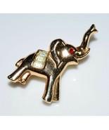 VTG CROWN TRIFARI Gold Tone Red Eye Clear Rhinestone Elephant Pin Brooch - $99.00