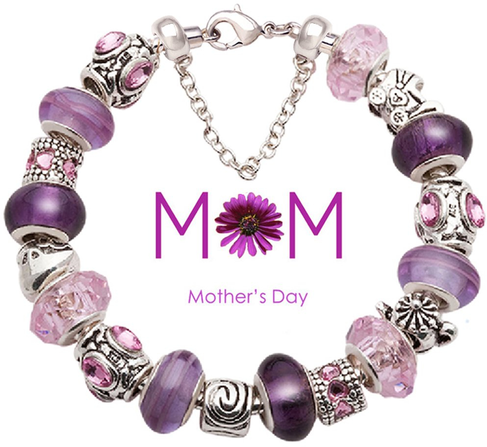 Mother Bracelet Purple and Pink Glass Bead Silver-tone Complete Charm Beaded Bra